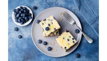 Blauwe bessen amandel cheesecake