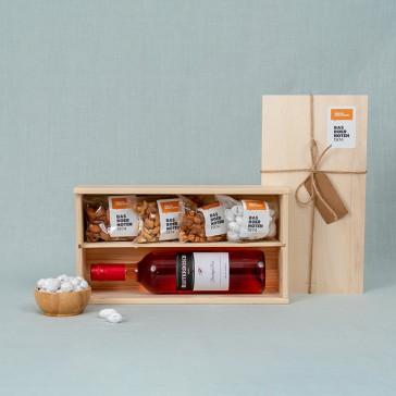 Cadeau noten & wijn pakket